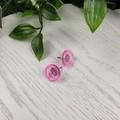 Frosty Ice Pink Glitter Resin Button Stud Earrings