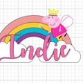 Peppa Pig - Rainbow - ABC kids - cake topper - kids party - caketopper