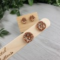 Rose Gold Glitter Resin Button Stud Earrings