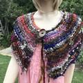 mini wrap, Hand Spun, Hand Knit, Scarf, collar, merino, alpaca, silk, wool