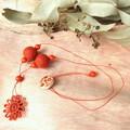 Natural Fibre Flower Pendant Felt Ball Beaded Necklace Jewellery Umber Orange