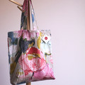 Pink, gold and cream shopping tote bag