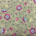 Olive Green or Dark Mustard Flower Fabric Cotton