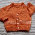 1-2 yrs: Hand knitted Cardigan, washable,