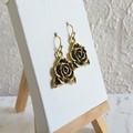 Art nouveau antique / vintage Gold style Rose metal flower charm drop earrings