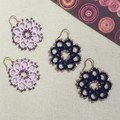 Tatting lace earrings with bead