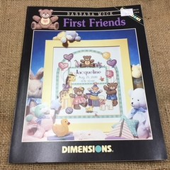 Dimensions Cross Stitch Leaflet called First Friends (Birth Sampler)