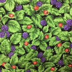 Fabric - Cotton, leaves, blackberries and ladybirds