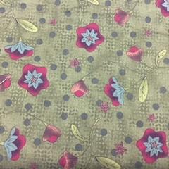Olive Green or Dark Mustard Flower Fabric Cotton