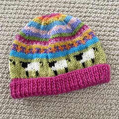Pink sheep Beanie - to fit approx size 6-12 months -hand knitted