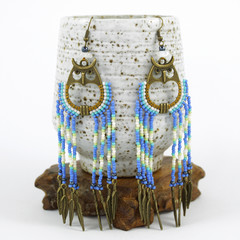 Native American-Style Dangle Drop Long Beaded Earrings - Night Owl