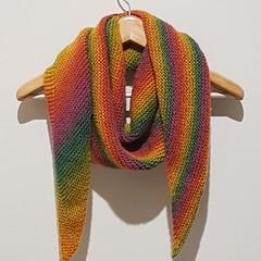 Rainbow knit shawl