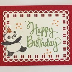 Kids Birthday Handmade Card - Party panda