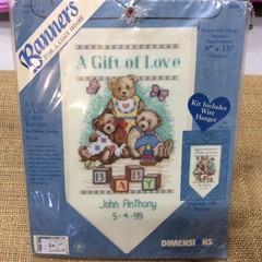 Dimensions Counted Cross Stitch Banner - A Gift of Love Birth Record