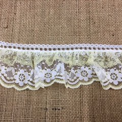 White and Yellow Insertion Gathered Lace Wide
