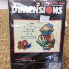 Counted Cross Stitch Kit - Quilters Love to Stitch