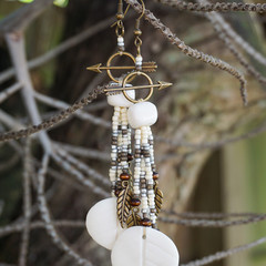 "Native American-Style Dangle Drop Long Beaded Earrings - ""A White Winter"""