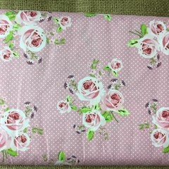 Fabric 180cm Cotton Spots/ Roses/Green Flowers