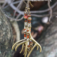 "Native American-Style Dangle Drop Long Beaded Earrings - ""Fertility Antlers"""