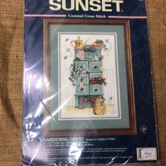 Sunset Counted Cross Stitch Kit - Gardening Chest