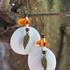 "Native American-Style Beaded Earrings - ""Autumn Amber"""