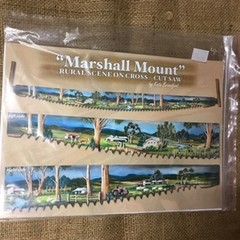 "Folk Art Pattern - ""Marshall Mount"" Rural scene on Cross - Cuts Saw"
