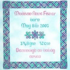 Celtic Birth Sampler by JoAnne Mason for D-D Designs