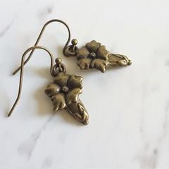 Dainty Boho Antique Gold style tiny Bell flower metal flower charm drop earrings