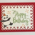 Kids Birthday Handmade Card - Party panda