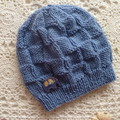 Hand-knitted baby boy's beanie with elephant button, fits 3 - 6 months, acrylic