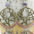 "Boho Dangle Drop Long Beaded Earrings, Tree of Life - ""Summer Leaves"""