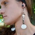"Native American-Style Dangle Drop Long Beaded Earrings - ""A White Winter"""