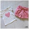 Girls short and shirt set, Pink, Heart