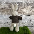 William the  Hand Knitted Bunny Rabbit Toy with Natural Brown Heart Jumper