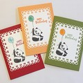 Set of 3  Birthday Handmade Card - Party  panda