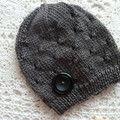 Baby boy's beanie w eyelet pattern & button, fits 3 - 9 months, acrylic