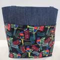 Light denim parrot 2 pocket tote bag