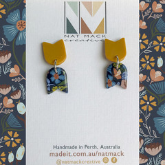 Alice Collection - Navy floral flag Polymer Clay earrings