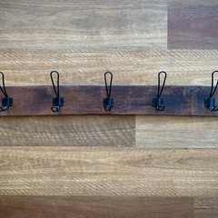 Rustic Wall-Mounted Coat Rack Made from Reclaimed Oak Wine Staves