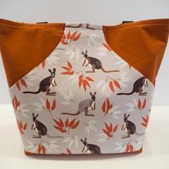 Rust kangaroo pocket tote bag