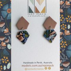 Alice Collection - Navy floral gem Polymer Clay earrings