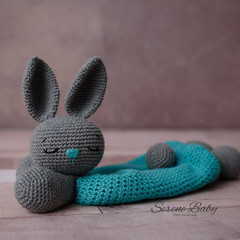 Crochet Cotton Grey Teal Rabbit Bunny Comforter Baby Gift Baby Shower