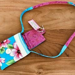 Girls /Kids Cross Body Bag Blue, Pink and Green Hibiscus Print