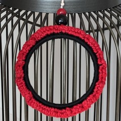 Large Crochet Hoop Earrings - Two-Tone