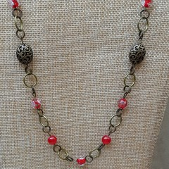 LONG RED BRONZE CHAIN NECKLACE, WEDDING NECKLACE, BRONZE CHAIN NECKLACE