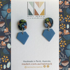 Alice Collection - Navy floral oval gem Polymer Clay earrings