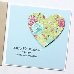 Personalised Age Birthday card | Floral Heart | Mum Sister Friend For Her