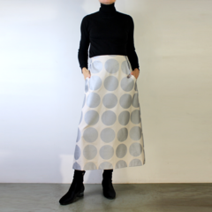 Metallic Silver Dot Cotton A-Line Skirt with Flat Front, Elastic Waist and Pocke