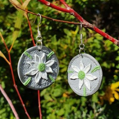 Handmade Earrings - Silver Flannel Flower Drops