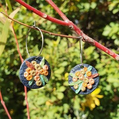 Handmade Earrings - Metallic Wattle Drops
